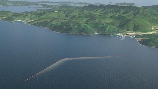 Hình ảnh mô phỏng sản phẩm chính thức dài 100 km sẽ được đặt ở giữa vùng biển nhiều rác thải nhất của Thái Bình Dương. Credit: The Ocean Cleanup.