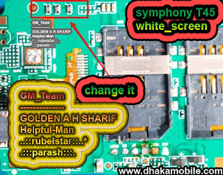 symphony t45 white screen