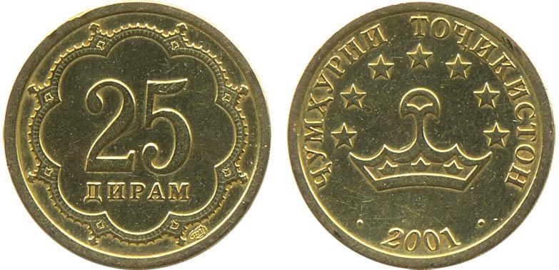 Чумхурии таджикистан 20 дирам 2001 цена сколько стоит монета 10 рублей 1992