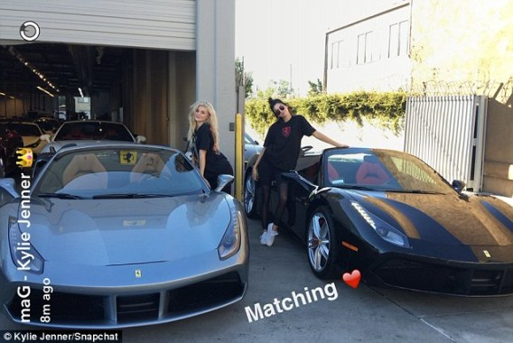 Kendall & Kylie Jenner show off their new matching Ferrari Spiders