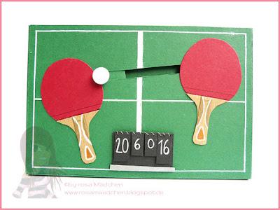 Stampin' Up! rosa Mädchen Kulmbach: Tischtennis-Kullerkarte zum 60. Geburtstag