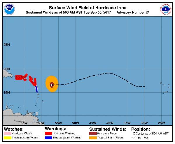 Huracán Irma llega a Puerto  Rico muy fortalecido, con categoría 4