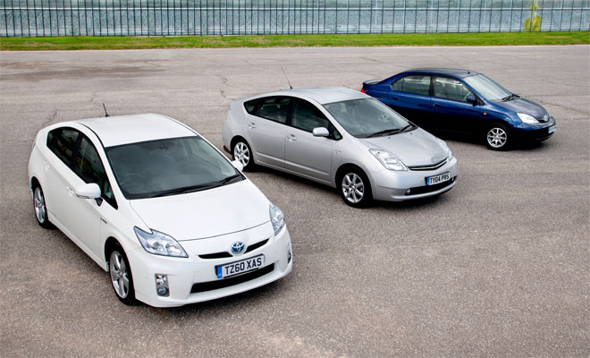 Three generations of Toyota Prius