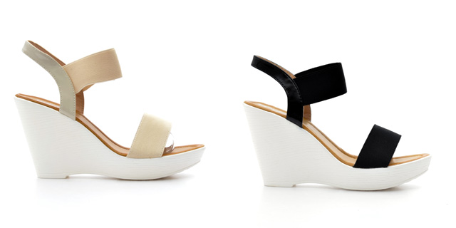 Sandale dama cu talpa inalta elegante ieftine negre, bej