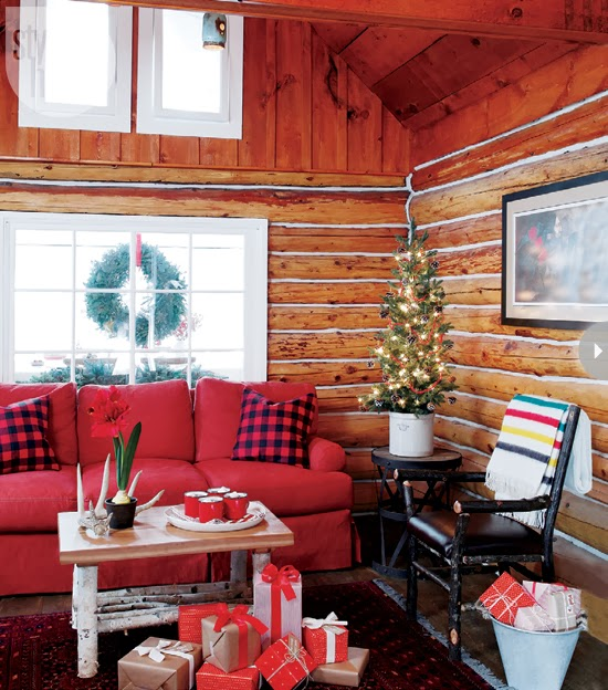 Incorporating Red Green In Every Room For The Holidays: Mix And Chic: Home Tour- A Warm And Cozy Christmas Log Cabin