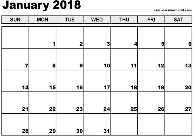 January 2018 Calendar, January 2018 Calendar Printable, January 2018 Calendar Template, Calendar January 2018