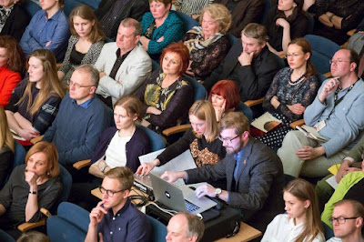 Electronics and lighting (Elo Liiv and Tammo Sumera) plus audience at the Estonia Concert Hall