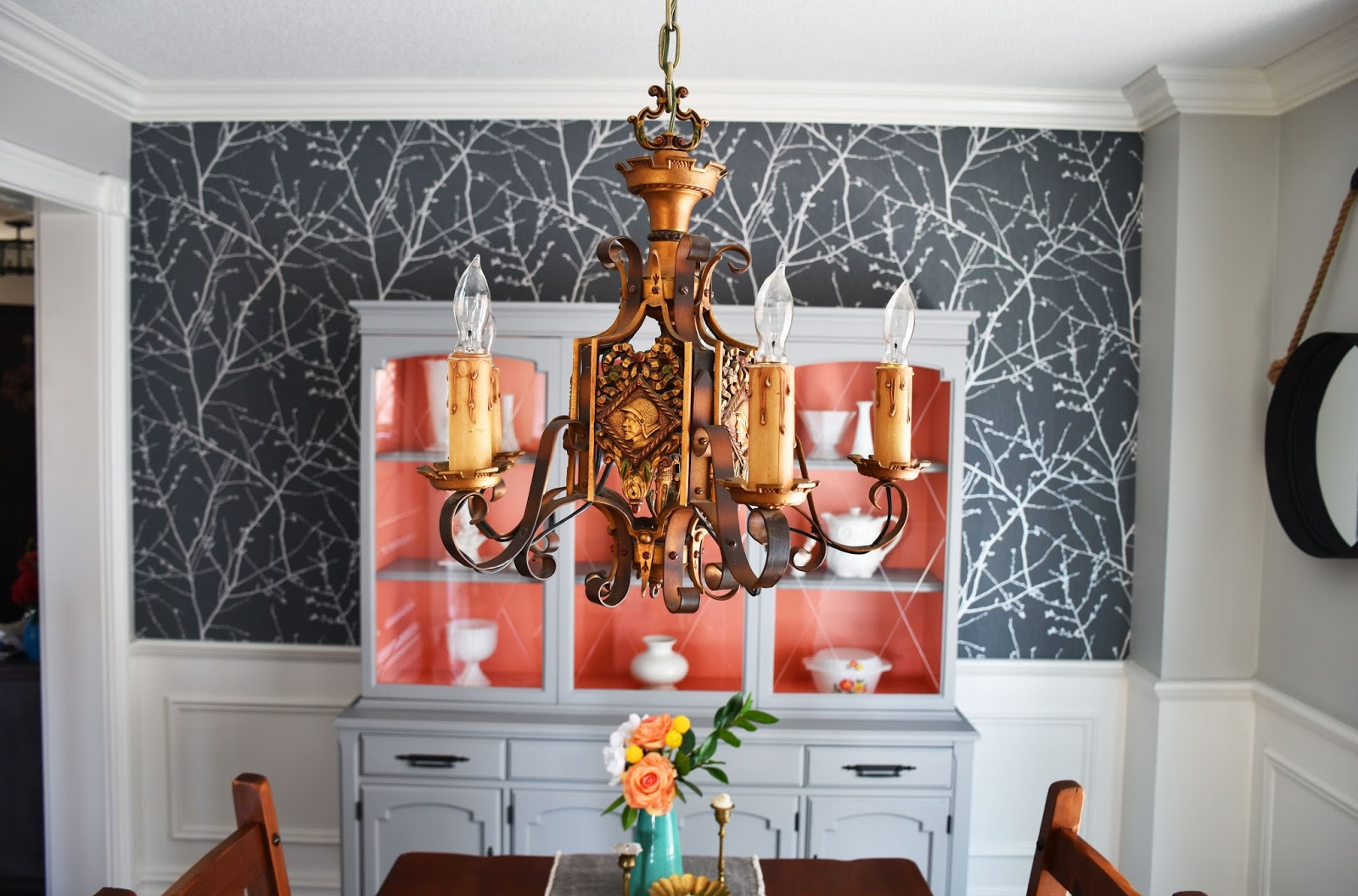 We Kept Several Of The Elements We Already Had In The Dining Room, Like  This Antique Gladiator Motif Bronze Chandelier. It Was In Our Foyer Growing  Up And ...