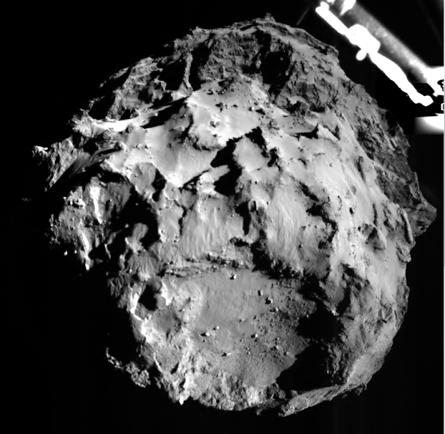 Just 3 km away, Philae took this amazing image of the comet's surface!