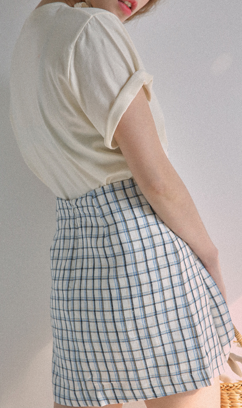 Grid Check Asymmetrical Skirt