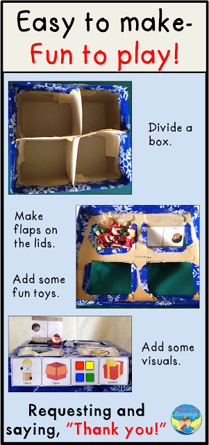 Shoebox Play for Autism- A fun way to learn to say thank you from Looks Like Language!