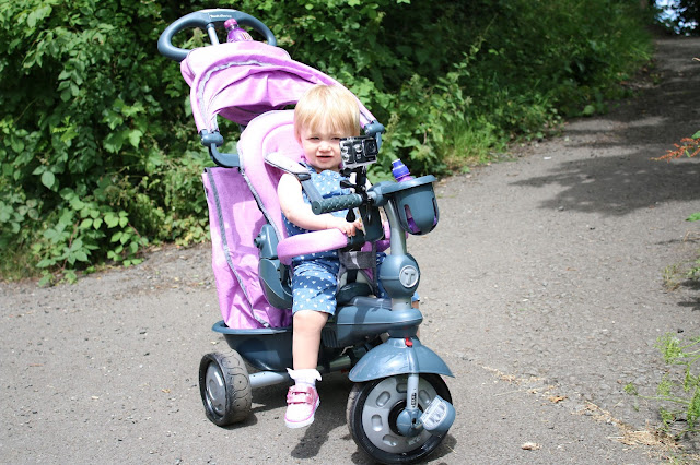 baby girl sat in pink smartrike for #smartdiscoveries project