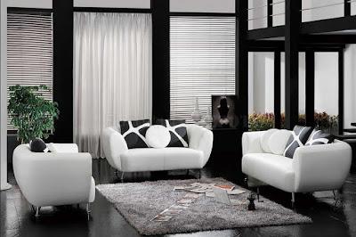 แบบห้องรับแขกสีขาว ดำ