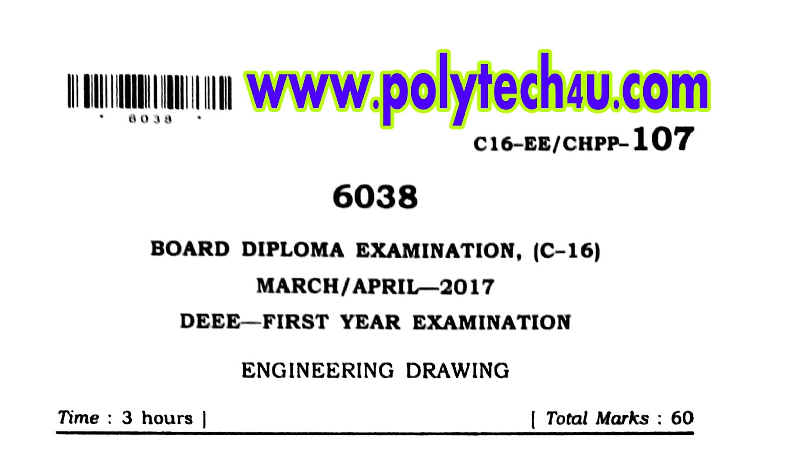 Common C 16 Electrical Drawing Previous Question Paper March April
