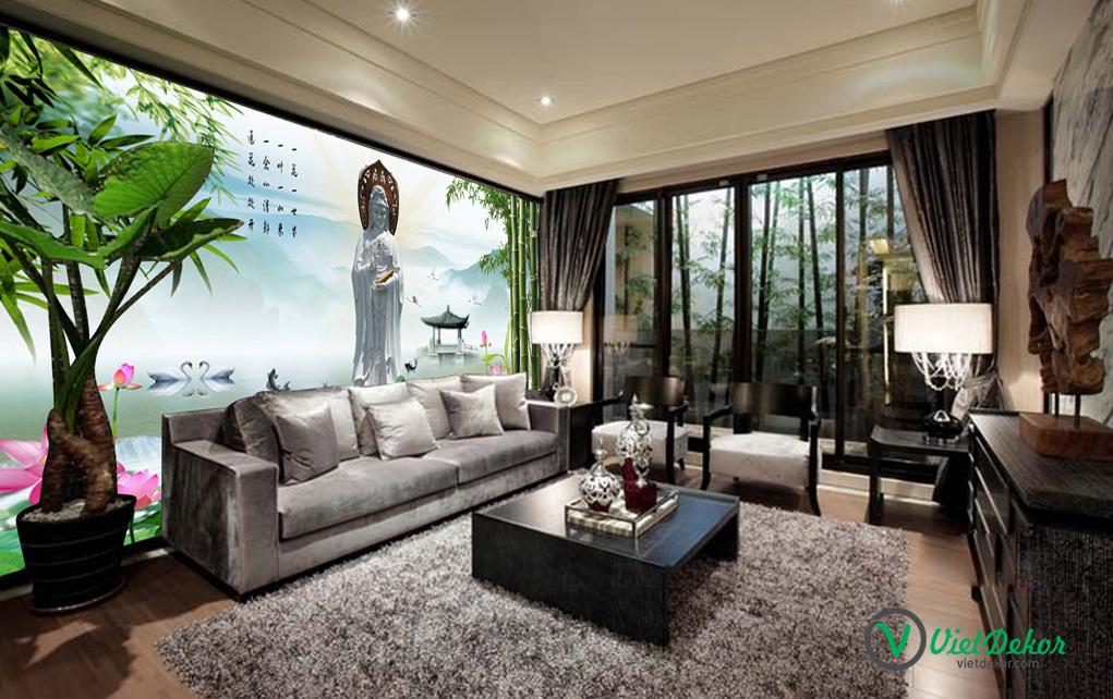 Tranh dán tường 3d phong cảnh tượng phật hoa sen thiên nga