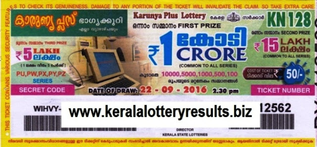 Kerala lottery result official copy of Karunya Plus_KN-150