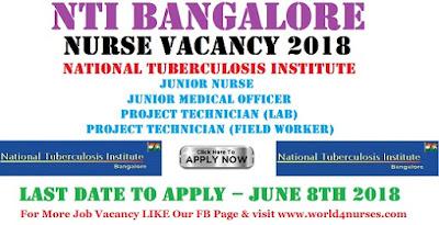 NTI Bangalore Junior Nurse Vacancy 2018