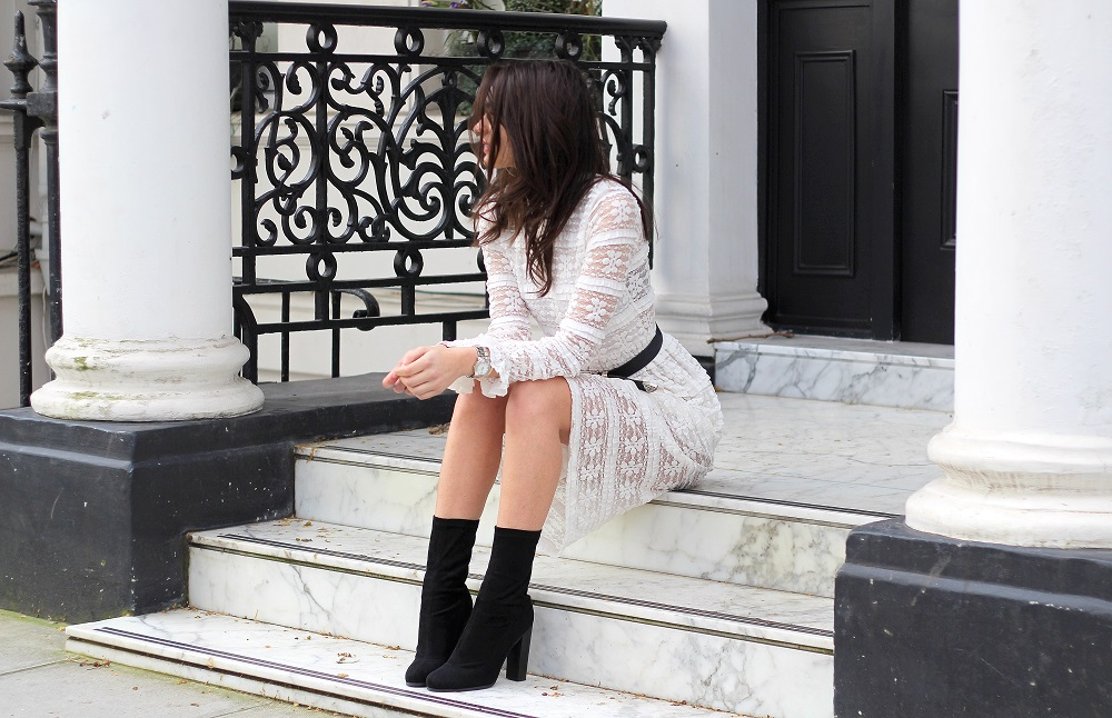 street style blogger london monochrome lace midi sock boots