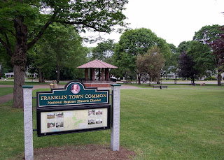 Franklin Town Common, bordered by Main St, Beaver St, Union St and High St