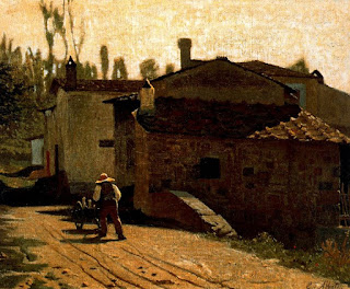 Abbati's painting Il lattaio di Piagentina, which was completed in Florence in 1864 (Museo Civico, Naples)