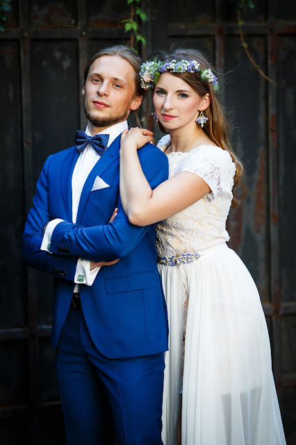 "Chabrowy komplet ślubny sutasz ""Filigranno""  ecru i chaber"