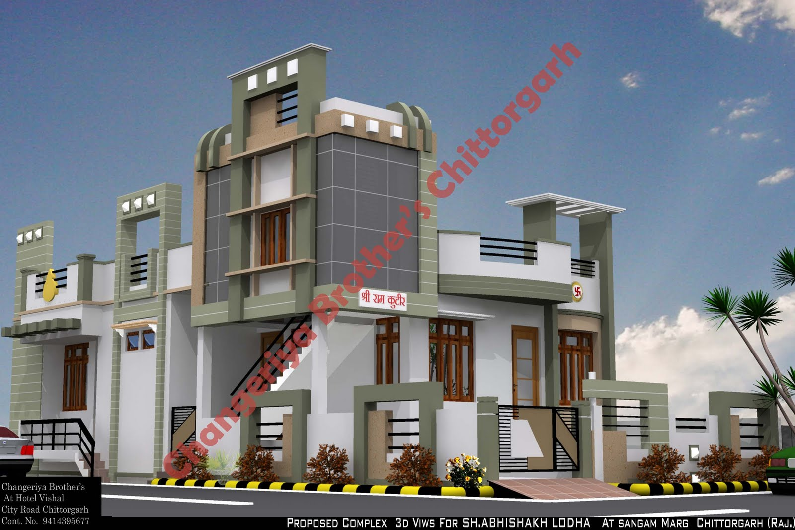 Mr . Raj Kumar Ji Gadiya House Plan &Exterior Design