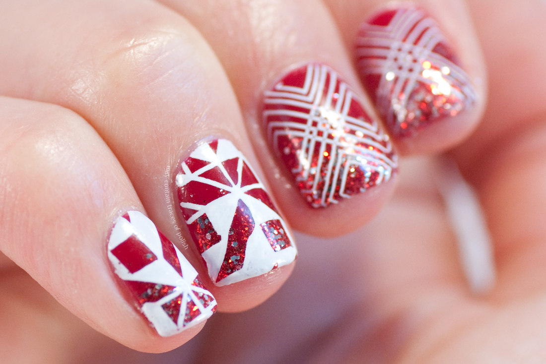 Red and White Glitter Nail Art - May contain traces of polish