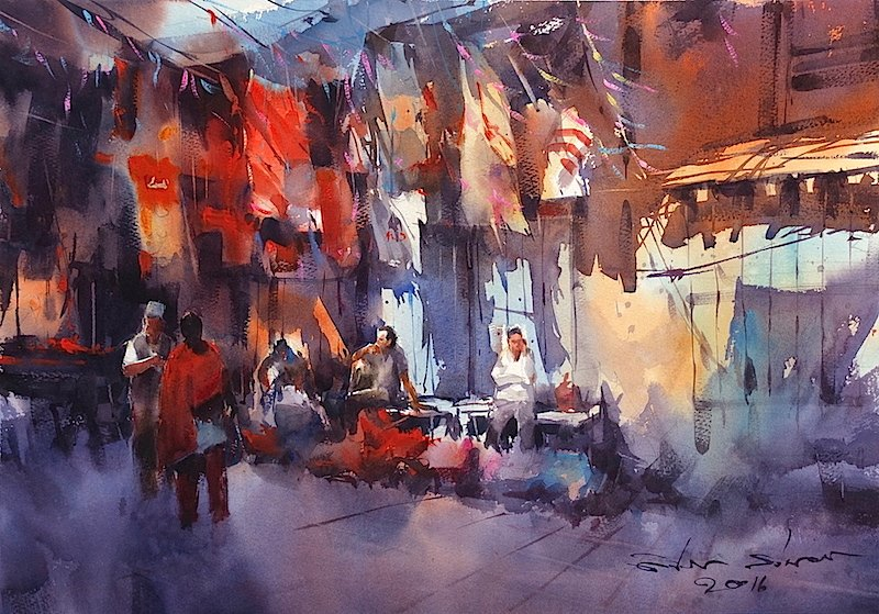 Watercolor Cityscape Paintings by Direk Kingnok