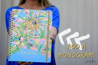 A graphic by A Cut Above showing that customers can add a monogram to their Lilly Pulitzer notebook for a small additional fee.