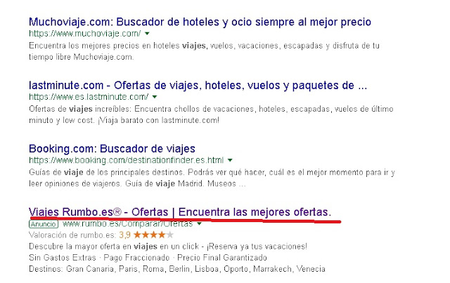 posicionamiento de rumbo.es en Google