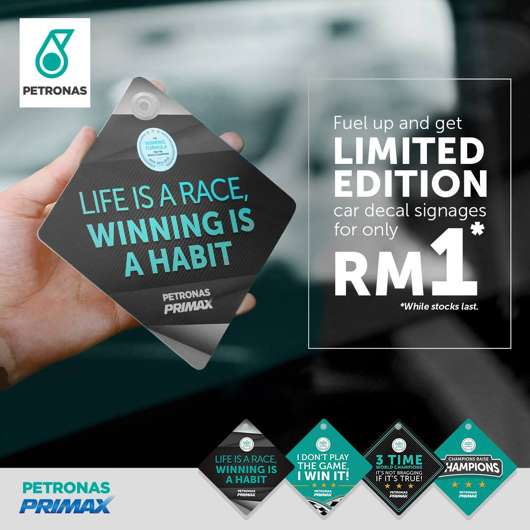 Car sticker design ipoh - Petronas Primax Fuels F1 World Championship Car Decal Signages