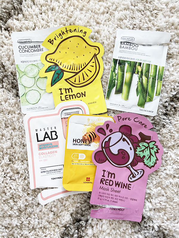 Empty sheet mask packets from Tonymoly, The Face Shop, Labotica
