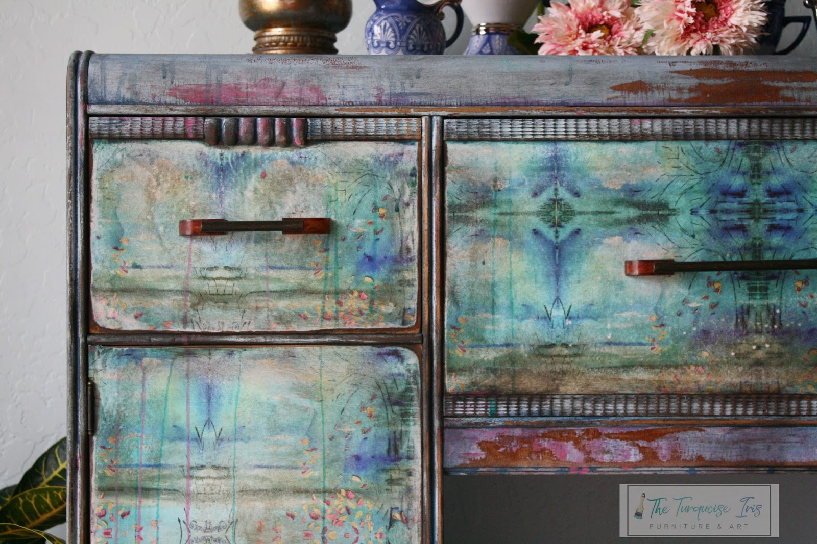 The turquoise iris furniture art for Sideboard qr