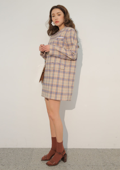 Flap Pocket Check Shift Dress