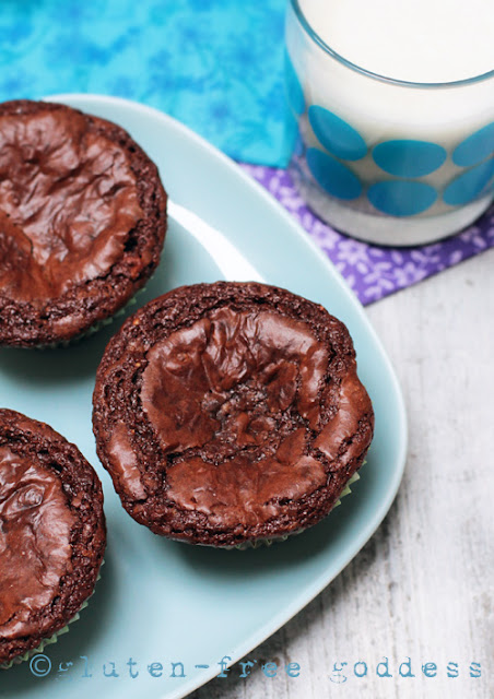 Gluten-Free Fudgy Brownie Cupcakes on a plate.