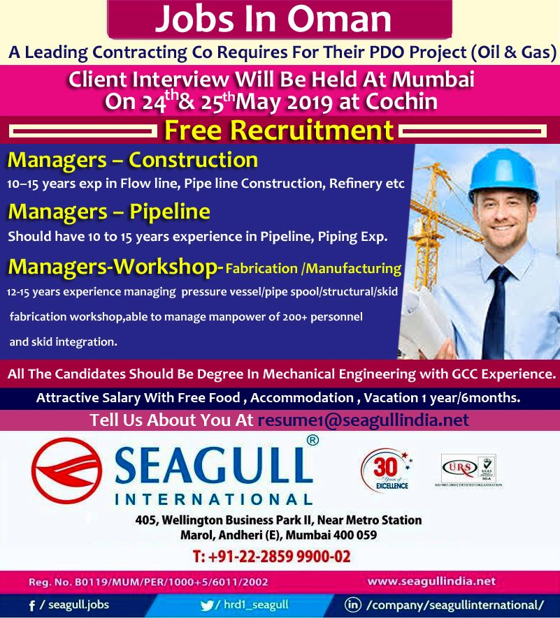 Leading contracting co requires for their PDO project Oil & Gas Oman