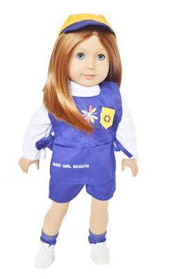 This Daisy Girl Scout uniform is for 18 inch dolls. Makes a fun gift for your Daisy Scout!