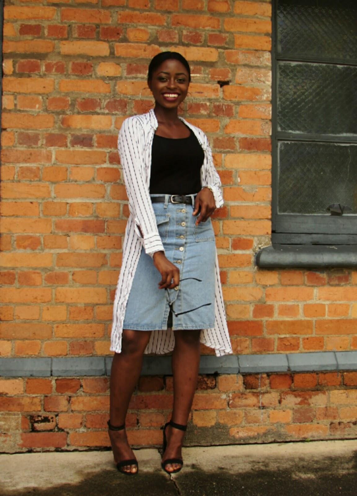 denim skirt, dress shirt, kimono, chambray