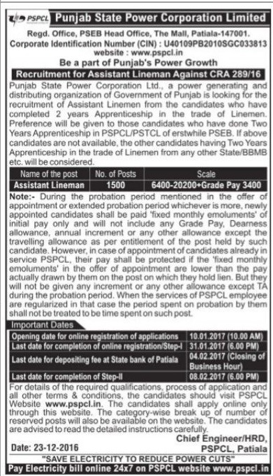 PSPCL-1500-Lineman-Recruitment-advt-2017