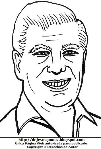 Dibujo de Mario Vargas Llosa para colorear pintar imprimir recortar y pegar. Dibujo de Mario Vargas Llosa de Jesus Gómez