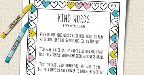 A Year of FHE FREE LDS COLORING PAGE Kind Words Poem