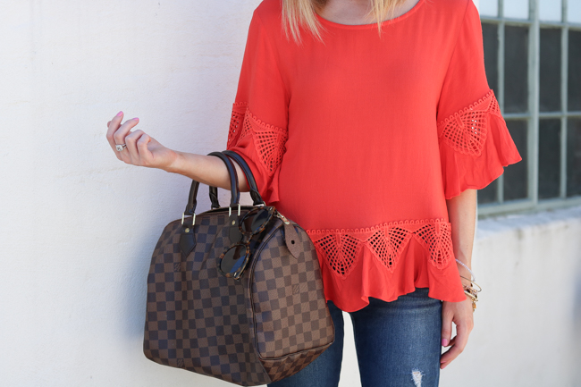 Orange top and louis vuitton speedy 30
