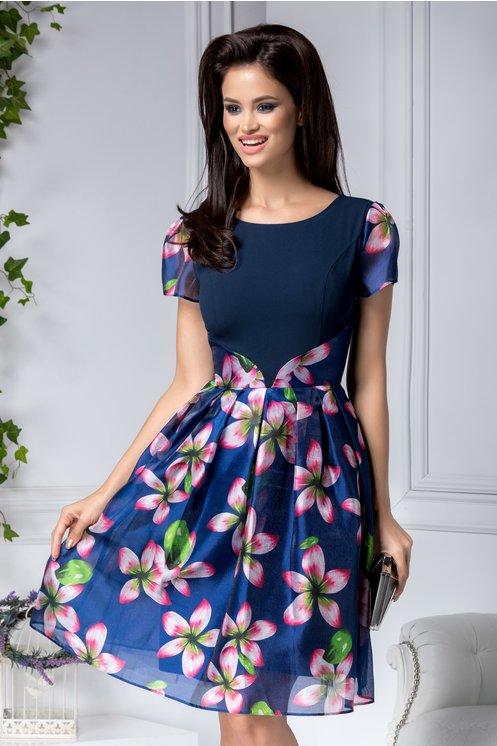 Rochie scurta de seara eleganta de vara bleumarin clos cu flori roz