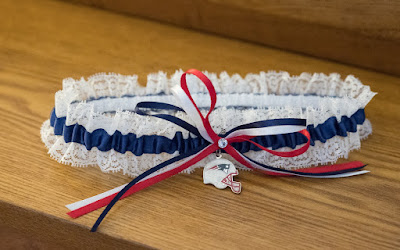 New England Patriots Lace Wedding Garter by Sugarplum Garters