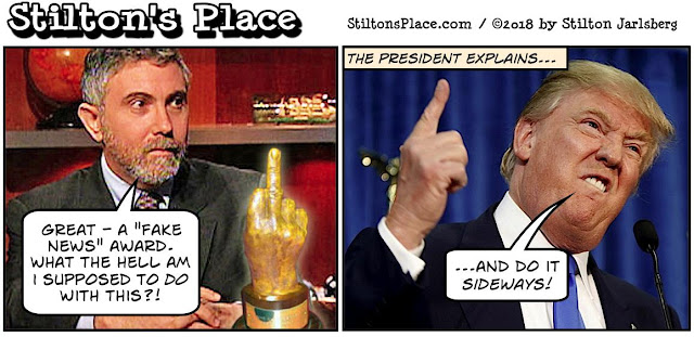stilton's place, stilton, political, humor, conservative, cartoons, jokes, hope n' change, trump, krugman, fake news, awards