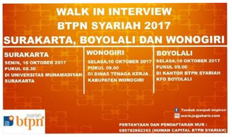 Walk In Interview Btpn Syariah 2017 Di Surakarta Boyolali Wonogiri Portal Info Lowongan Kerja Terbaru Di Solo Raya Surakarta 2021