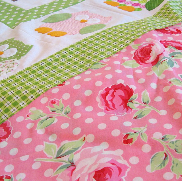 Preppy pink and green quilt with owls and roses