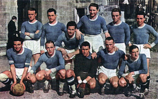The Lazio team for the 1940-41 season. Piola, who spent nine years at the Rome club, is fourth from the left on the back row.