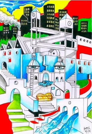 Big City Blues - Original hand drawn surrealistic art illustration. Artwork drawing created by Spencer J. Derry.