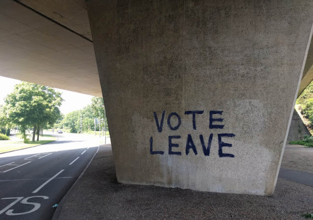 The words VOTE LEAVE sprayed on an underpass in Stanground